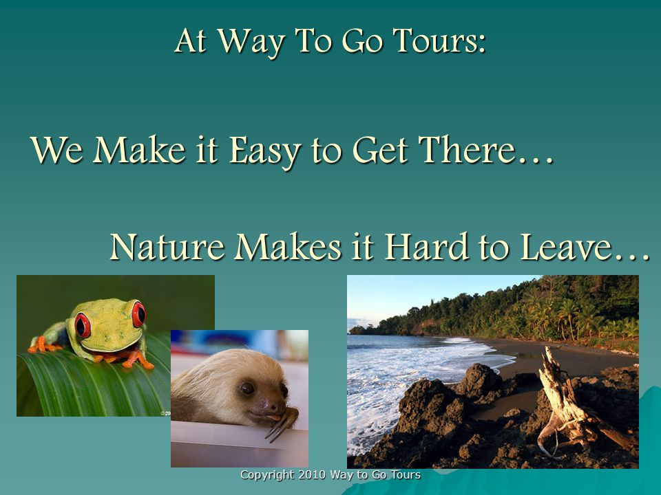 Copyright 2010 Way to Go Tours At Way To Go Tours: We Make it Easy to Get There… Nature Makes it Hard to Leave… Nature Makes it Hard to Leave…