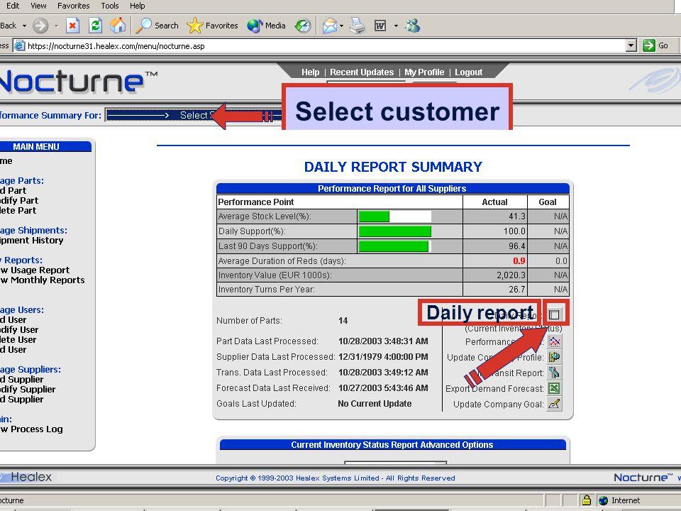 30PMS 2003-11-24 intro Villa Daily report Select customer