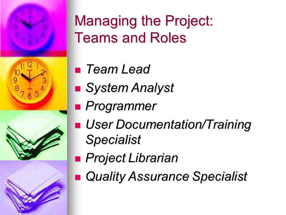 Managing the Project: Teams and Roles Team Lead Team Lead System Analyst System Analyst Programmer Programmer User Documentation/Training Specialist User Documentation/Training Specialist Project Librarian Project Librarian Quality Assurance Specialist Quality Assurance Specialist