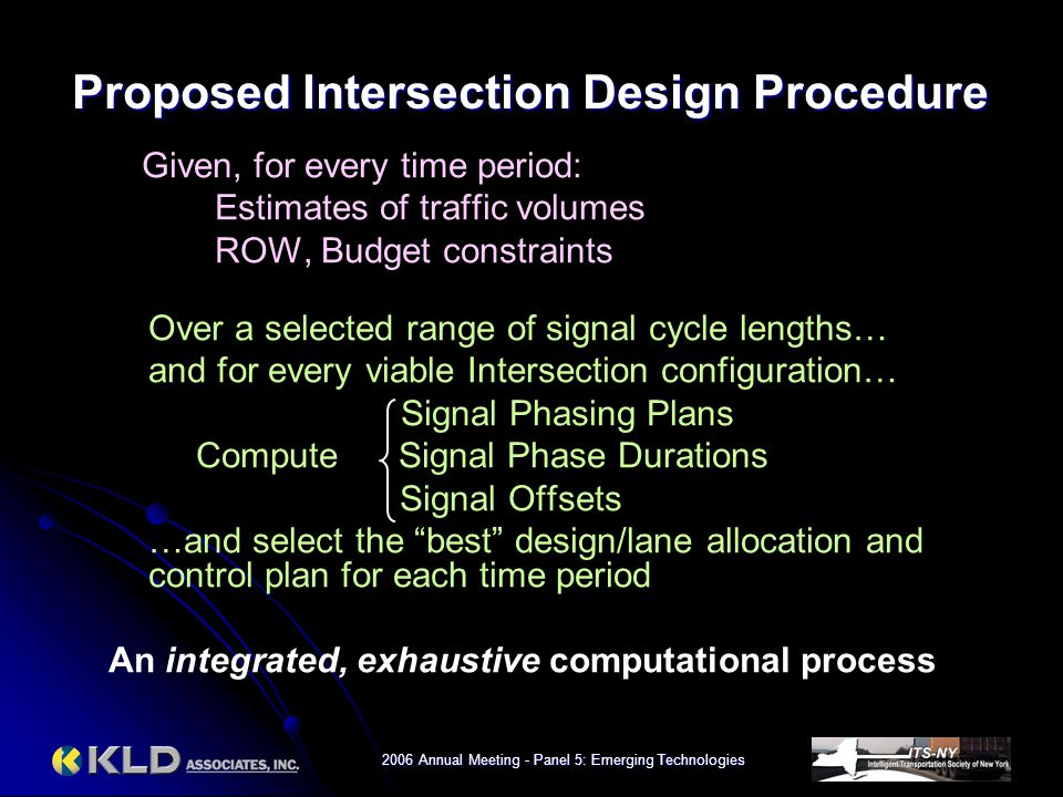2006 Annual Meeting - Panel 5: Emerging Technologies Given, for every time period: Estimates of traffic volumes ROW, Budget constraints Over a selecte