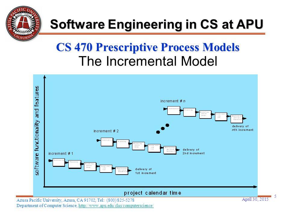 April 30, 2015 5 Azusa Pacific University, Azusa, CA 91702, Tel: (800) 825-5278 Department of Computer Science, http://www.apu.edu/clas/computerscience/http://www.apu.edu/clas/computerscience/ Software Engineering in CS at APU CS 470 Prescriptive Process Models The Incremental Model