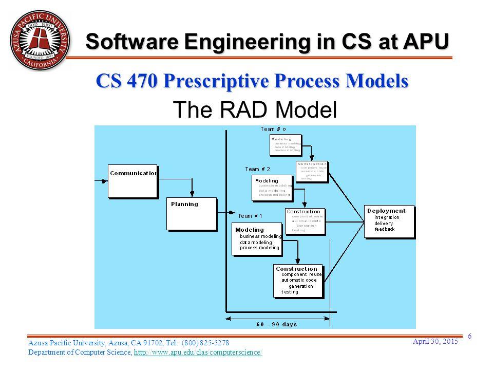 April 30, 2015 6 Azusa Pacific University, Azusa, CA 91702, Tel: (800) 825-5278 Department of Computer Science, http://www.apu.edu/clas/computerscience/http://www.apu.edu/clas/computerscience/ Software Engineering in CS at APU CS 470 Prescriptive Process Models The RAD Model