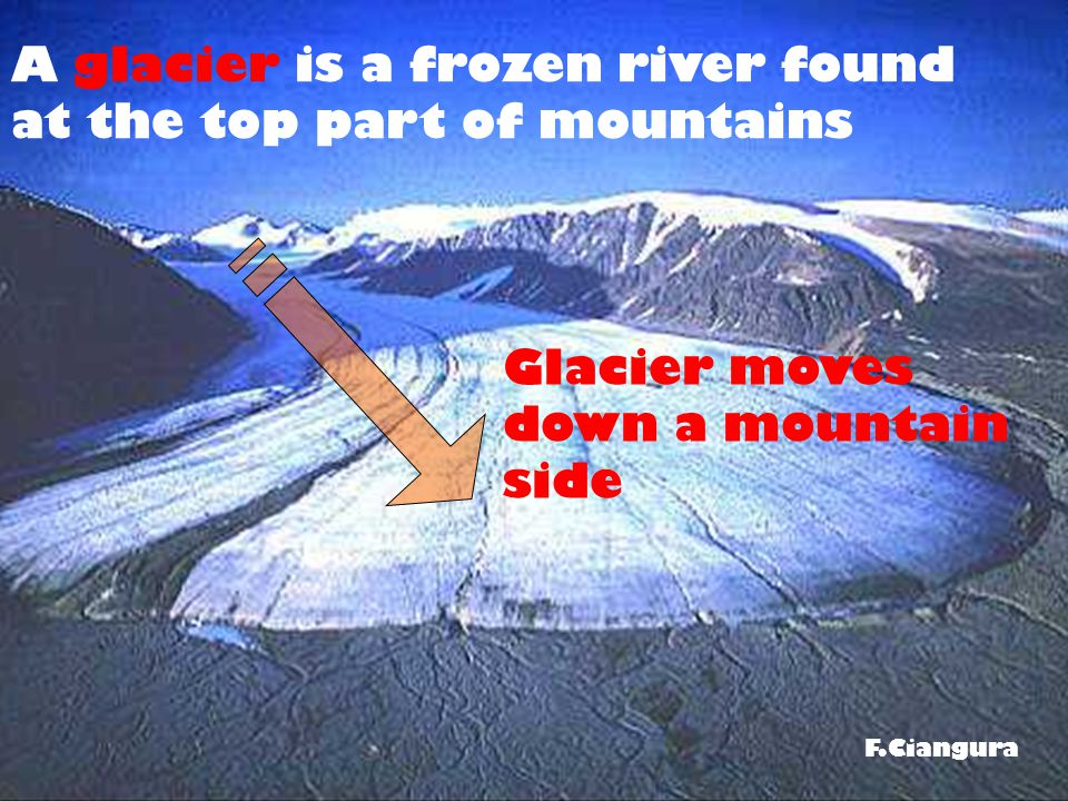 Glacier moves down a mountain side A glacier is a frozen river found at the top part of mountains F.Ciangura