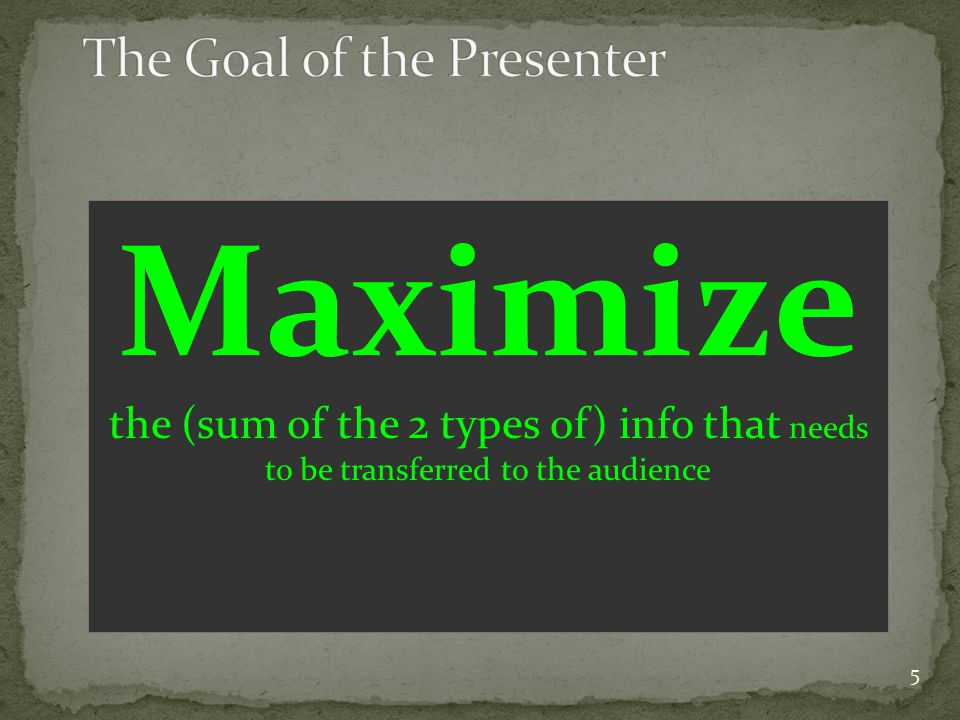 Maximize the (sum of the 2 types of) info that needs to be transferred to the audience 5