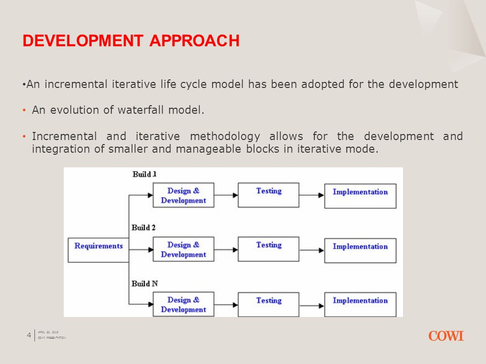 4 An incremental iterative life cycle model has been adopted for the development An evolution of waterfall model.