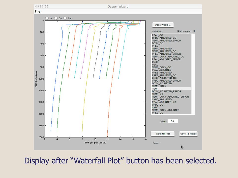 Display after Waterfall Plot button has been selected.