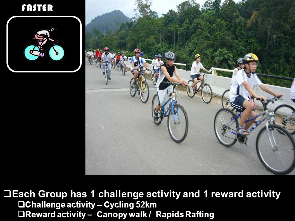 FASTER  Each Group has 1 challenge activity and 1 reward activity  Challenge activity – Cycling 52km  Reward activity – Canopy walk / Rapids Rafting