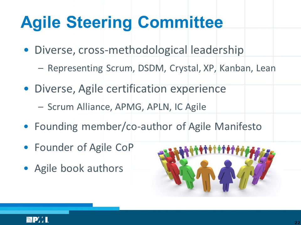 Agile Steering Committee Diverse, cross-methodological leadership –Representing Scrum, DSDM, Crystal, XP, Kanban, Lean Diverse, Agile certification experience –Scrum Alliance, APMG, APLN, IC Agile Founding member/co-author of Agile Manifesto Founder of Agile CoP Agile book authors 22