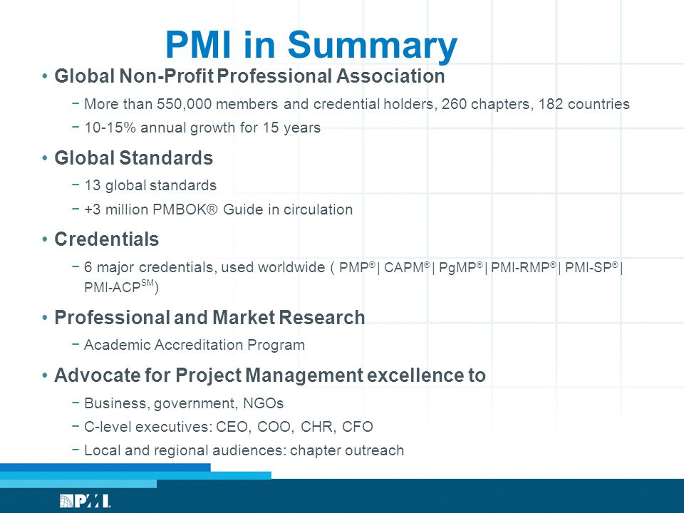 PMI in Summary Global Non-Profit Professional Association −More than 550,000 members and credential holders, 260 chapters, 182 countries −10-15% annual growth for 15 years Global Standards −13 global standards −+3 million PMBOK® Guide in circulation Credentials −6 major credentials, used worldwide ( PMP ® | CAPM ® | PgMP ® | PMI-RMP ® | PMI-SP ® | PMI-ACP SM ) Professional and Market Research −Academic Accreditation Program Advocate for Project Management excellence to −Business, government, NGOs −C-level executives: CEO, COO, CHR, CFO −Local and regional audiences: chapter outreach