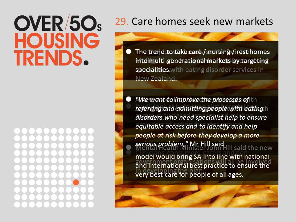 29. Care homes seek new markets The project will be advised by Deirdre Mulligan, who has a clinical background and experience with eating disorder ser