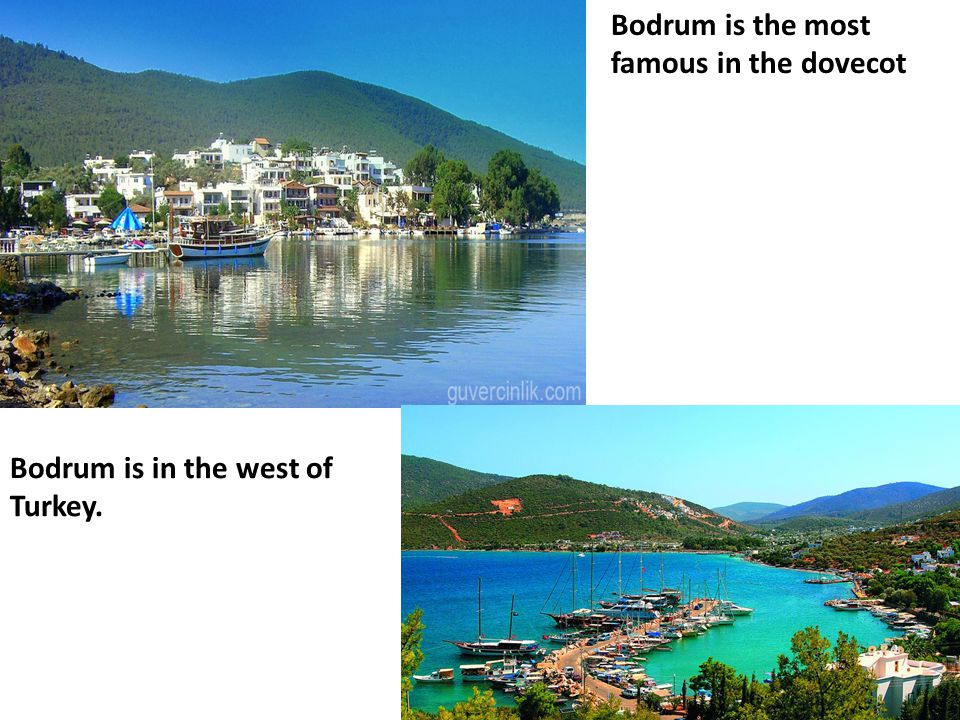 Bodrum is the most famous in the dovecot Bodrum is in the west of Turkey.
