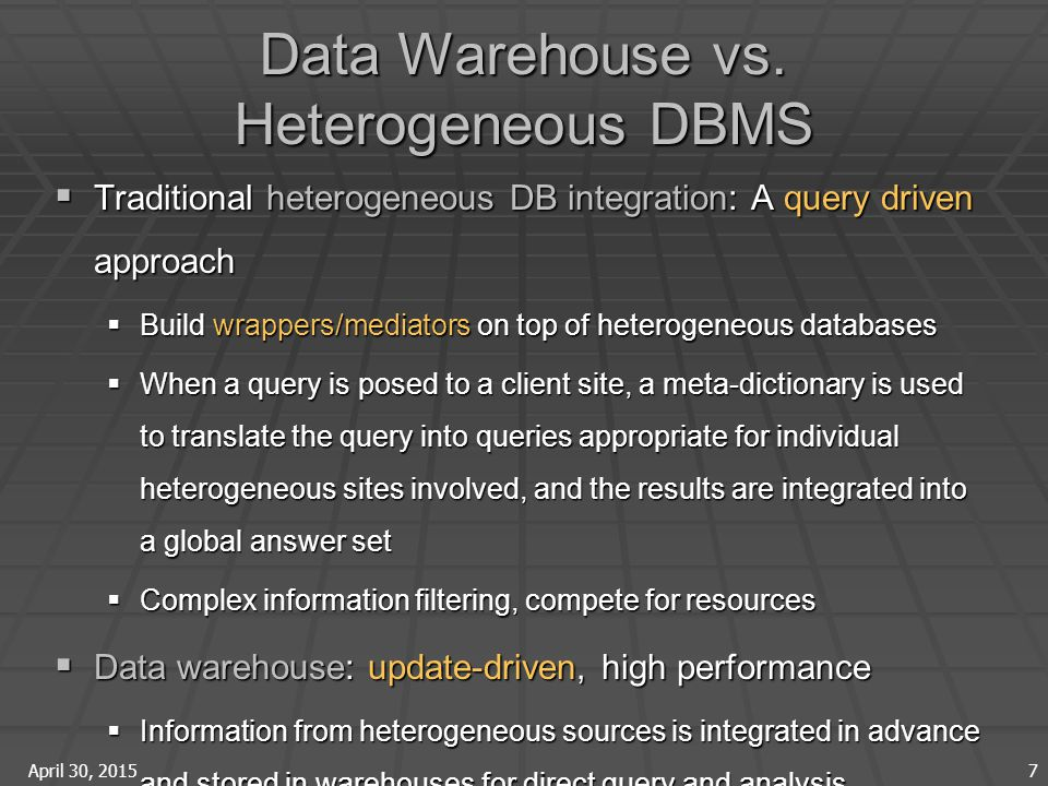April 30, 2015 7 Data Warehouse vs.