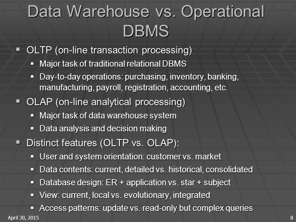 April 30, 2015 8 Data Warehouse vs.