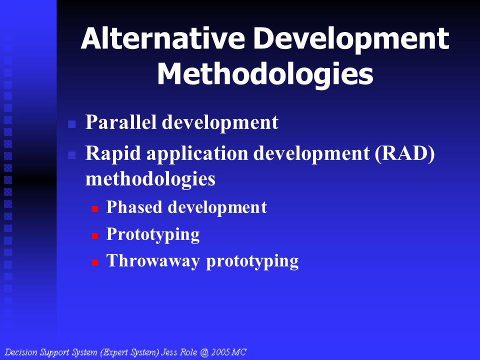 Alternative Development Methodologies Parallel development Rapid application development (RAD) methodologies Phased development Prototyping Throwaway