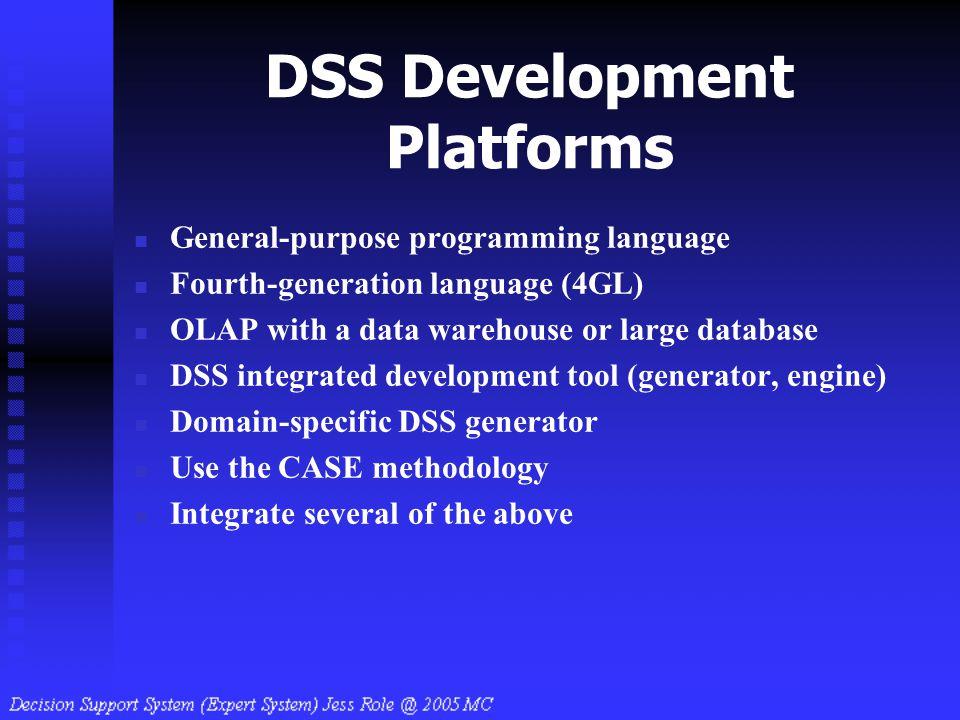 DSS Development Platforms General-purpose programming language Fourth-generation language (4GL) OLAP with a data warehouse or large database DSS integ