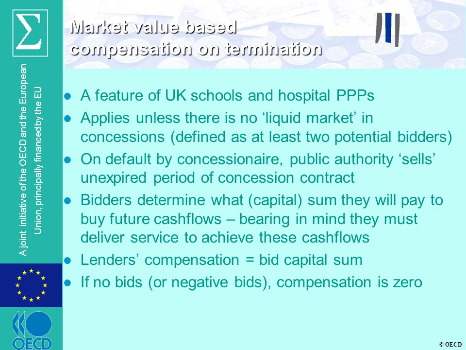 © OECD A joint initiative of the OECD and the European Union, principally financed by the EU l A feature of UK schools and hospital PPPs l Applies unless there is no 'liquid market' in concessions (defined as at least two potential bidders) l On default by concessionaire, public authority 'sells' unexpired period of concession contract l Bidders determine what (capital) sum they will pay to buy future cashflows – bearing in mind they must deliver service to achieve these cashflows l Lenders' compensation = bid capital sum l If no bids (or negative bids), compensation is zero Market value based compensation on termination