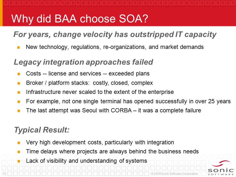 12© 2005 Sonic Software Corporation Why did BAA choose SOA.