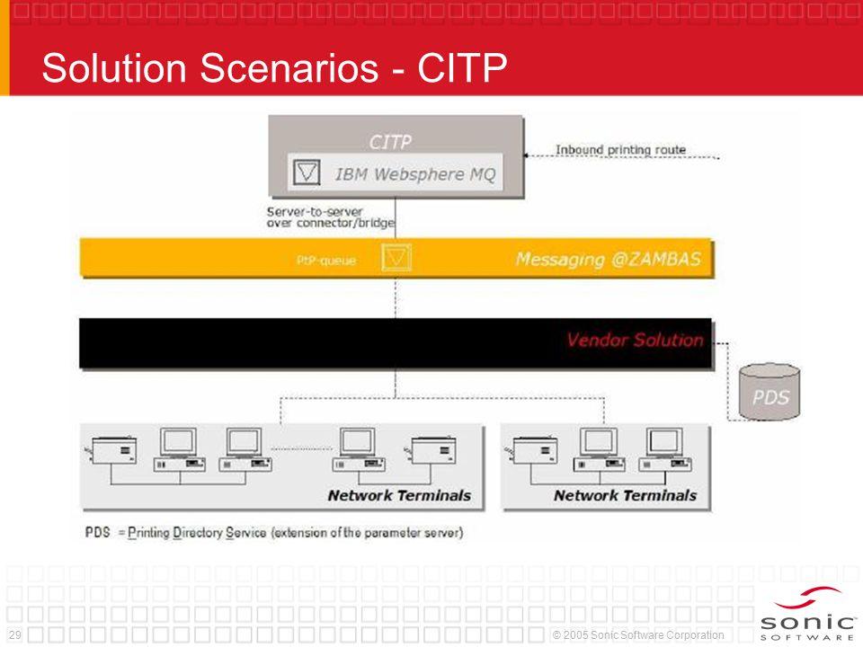 29© 2005 Sonic Software Corporation Solution Scenarios - CITP