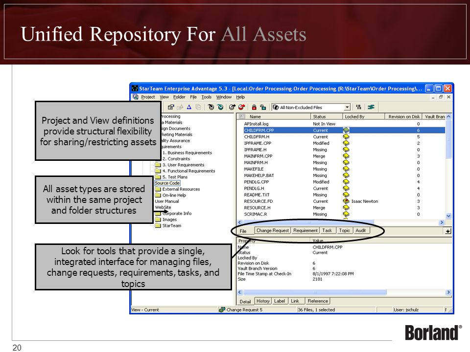 20 Unified Repository For All Assets Look for tools that provide a single, integrated interface for managing files, change requests, requirements, tasks, and topics All asset types are stored within the same project and folder structures Project and View definitions provide structural flexibility for sharing/restricting assets