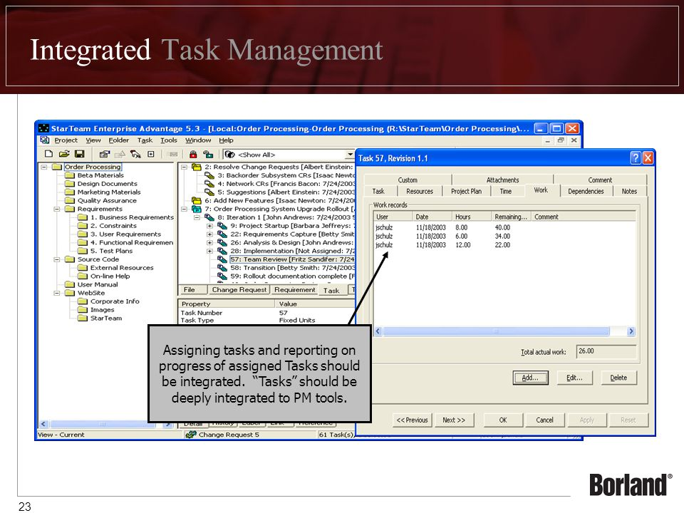 23 Integrated Task Management Tasks are native objects that the StarTeam Server understands Tasks can be entered in StarTeam or synchronized from Microsoft Project Assigning tasks and reporting on progress of assigned Tasks should be integrated.