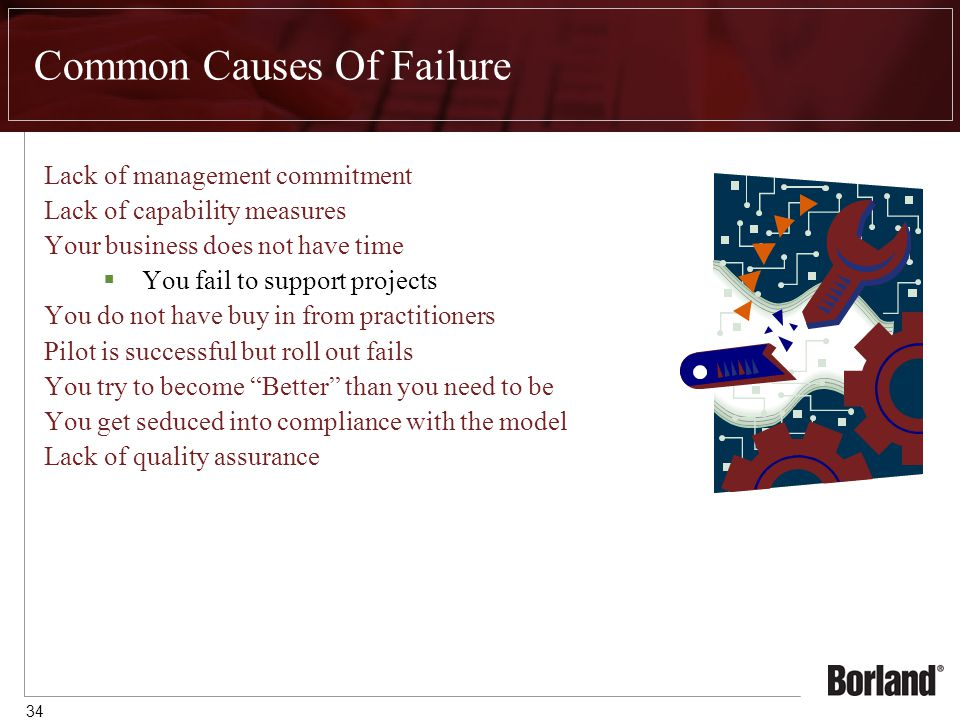 34 Common Causes Of Failure Lack of management commitment Lack of capability measures Your business does not have time  You fail to support projects You do not have buy in from practitioners Pilot is successful but roll out fails You try to become Better than you need to be You get seduced into compliance with the model Lack of quality assurance