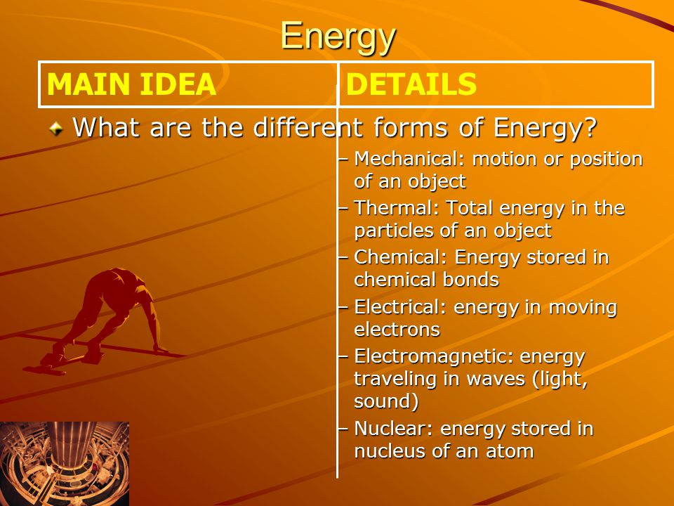 Energy What are the different forms of Energy.