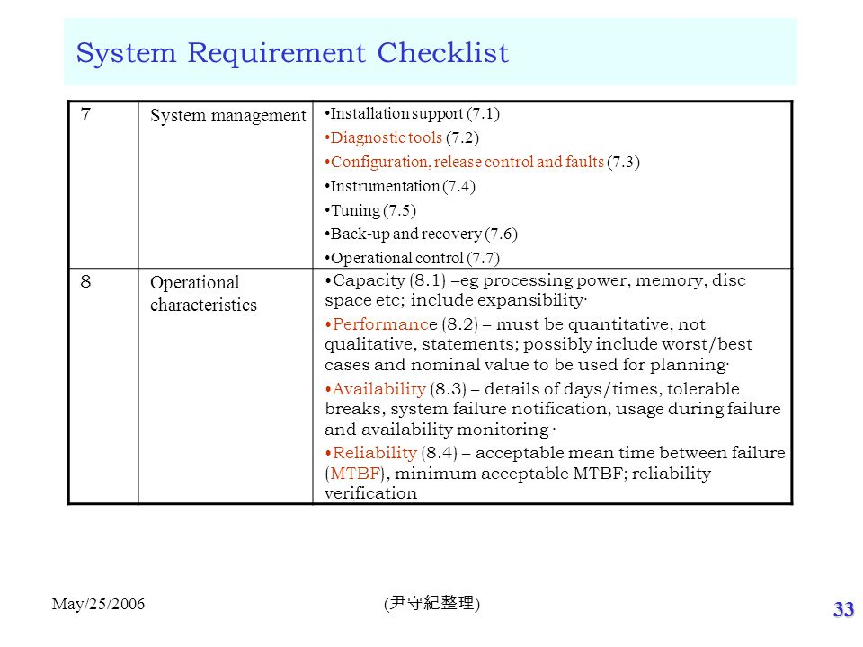 33 ( 尹守紀整理 ) May/25/2006 System Requirement Checklist 7 System management Installation support (7.1) Diagnostic tools (7.2) Configuration, release con