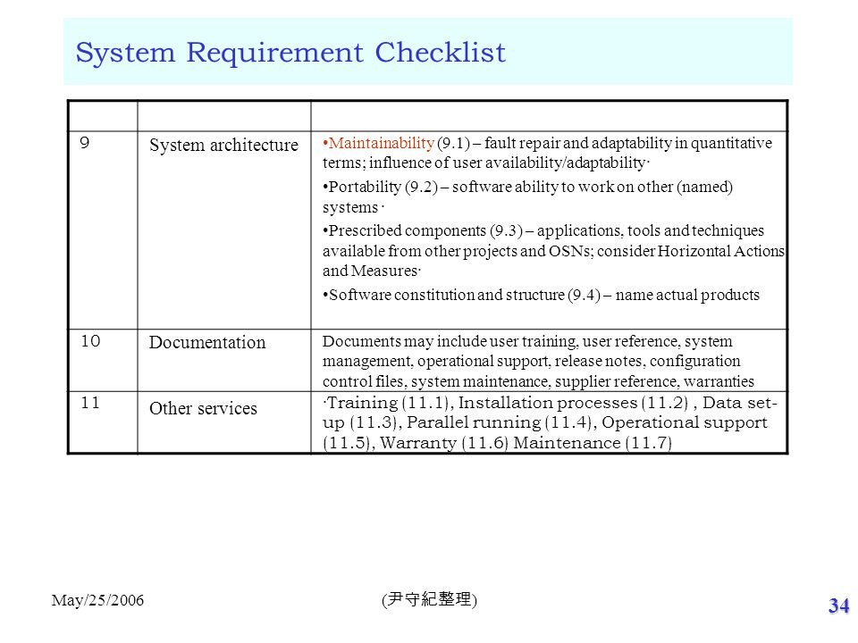 34 ( 尹守紀整理 ) May/25/2006 System Requirement Checklist 9 System architecture Maintainability (9.1) – fault repair and adaptability in quantitative term