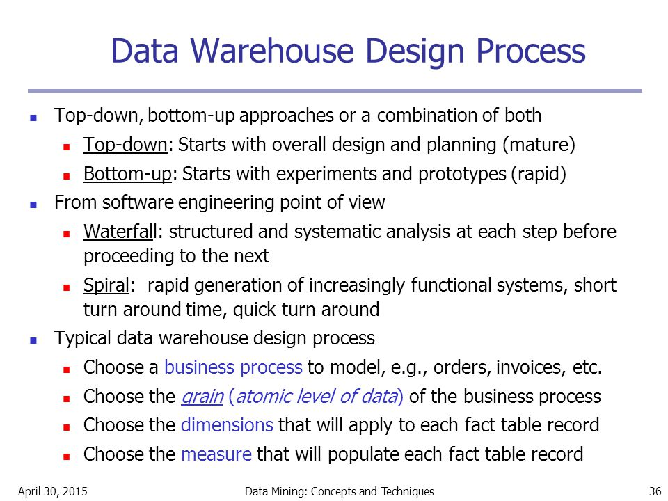 April 30, 2015Data Mining: Concepts and Techniques 36 Data Warehouse Design Process Top-down, bottom-up approaches or a combination of both Top-down: