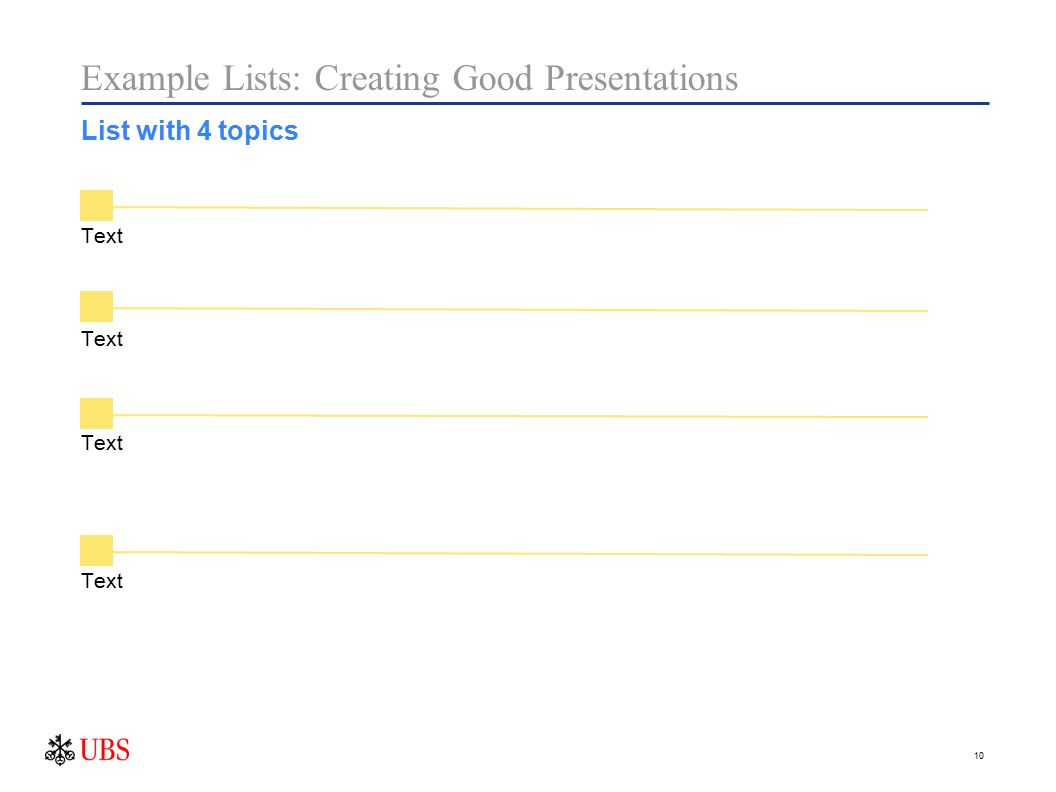 10 Text Example Lists: Creating Good Presentations List with 4 topics