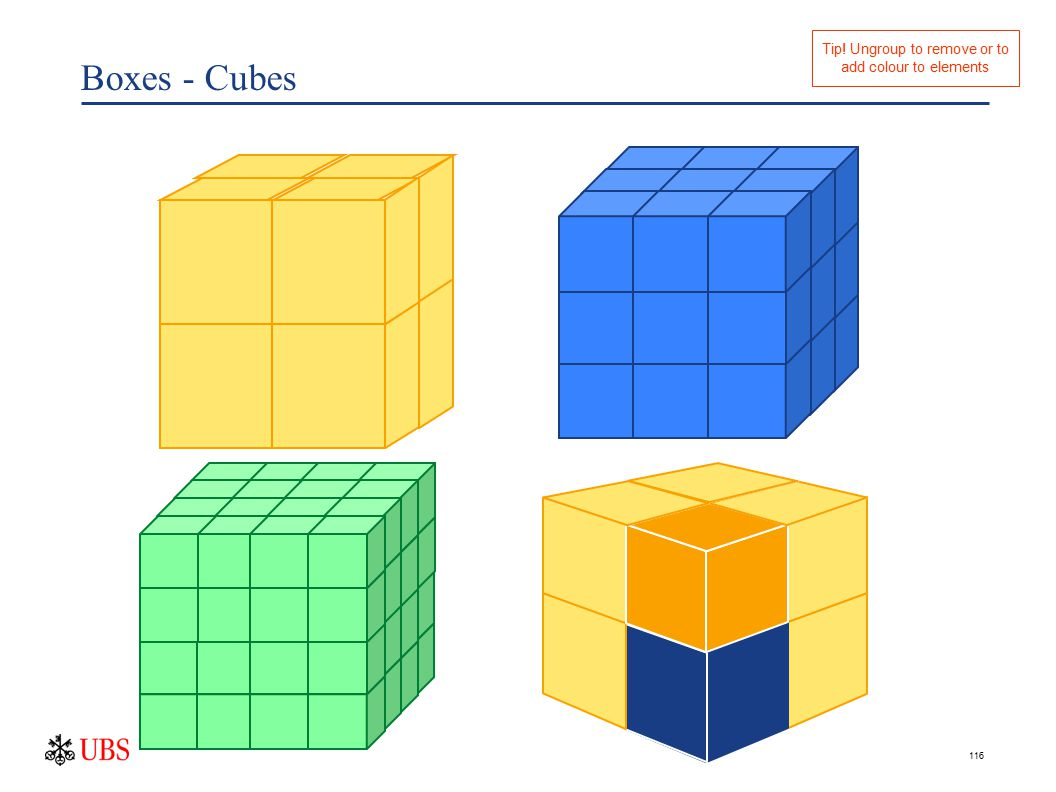 116 Boxes - Cubes Tip! Ungroup to remove or to add colour to elements