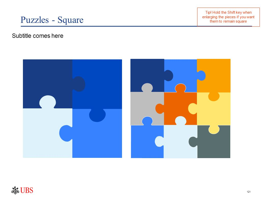 121 Puzzles - Square Subtitle comes here Tip.