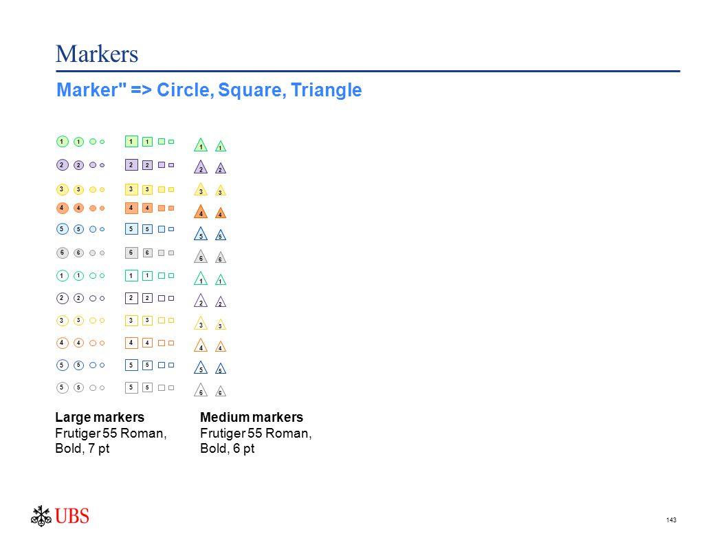143 Markers Marker => Circle, Square, Triangle Large markers Frutiger 55 Roman, Bold, 7 pt 1 1 2 2 3 3 4 4 5 5 6 6 1 1 2 2 3 3 4 4 5 5 5 5 1 1 2 2 3 3 4 4 5 5 6 6 1 1 2 2 3 3 4 4 5 5 5 5 2 3 4 5 6 1 2 3 4 4 4 1 2 3 4 5 6 1 2 3 4 5 6 1 1 3 2 4 5 6 1 2 3 4 5 6 Medium markers Frutiger 55 Roman, Bold, 6 pt