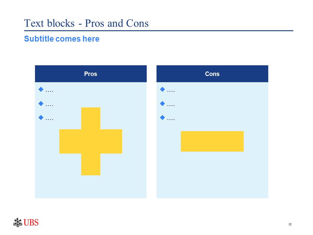22 Text blocks - Pros and Cons .... Pros .... Cons Subtitle comes here