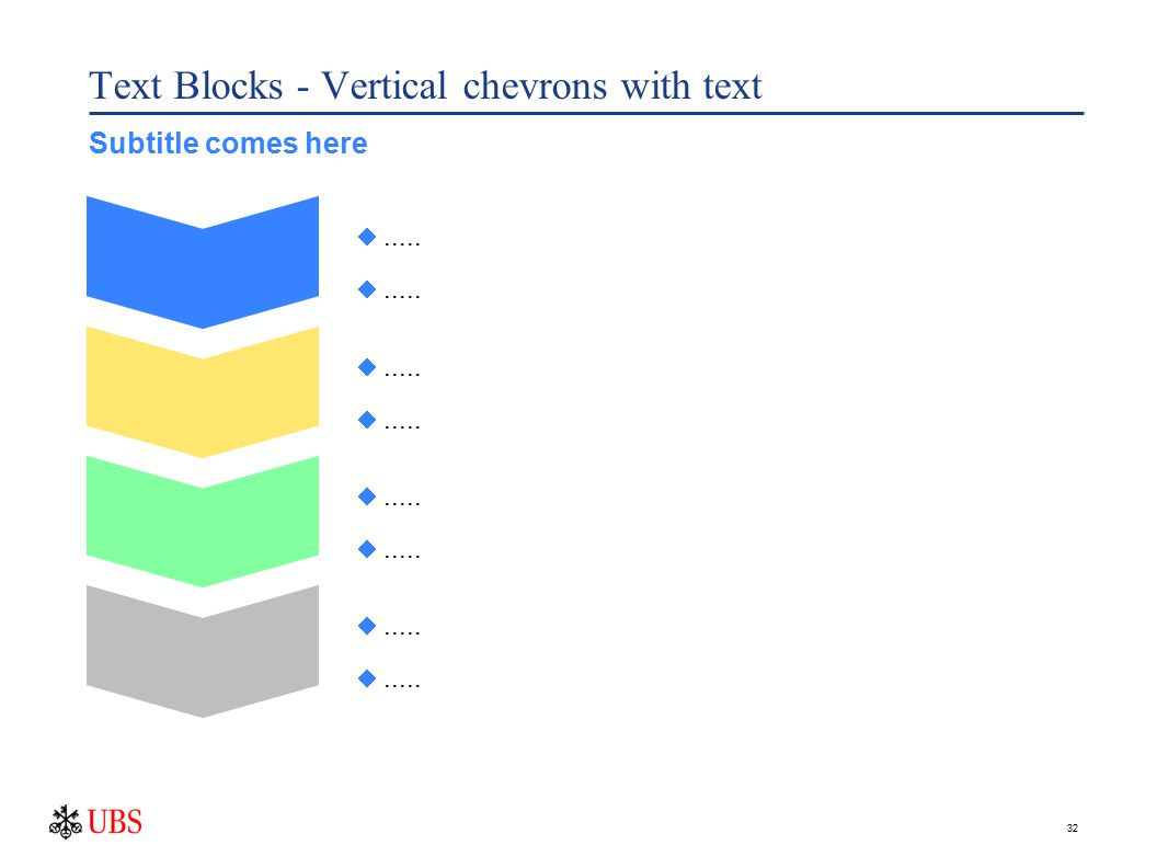 32 Text Blocks - Vertical chevrons with text ..... Subtitle comes here