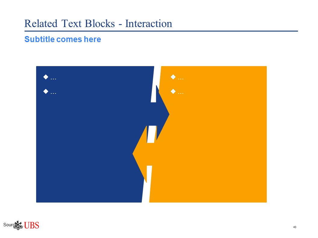 43 ... Related Text Blocks - Interaction ... Source:.... Subtitle comes here
