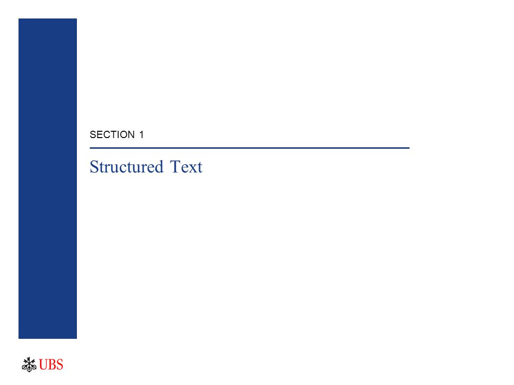 SECTION 1 Structured Text