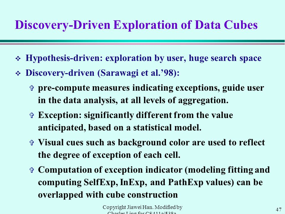 47 Copyright Jiawei Han. Modified by Charles Ling for CS411a/538a, UWO, 1999.9 Discovery-Driven Exploration of Data Cubes v Hypothesis-driven: explora