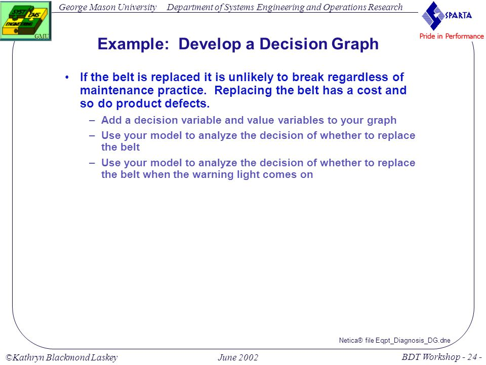 George Mason University BDT Workshop - 24 - GMU Department of Systems Engineering and Operations Research ©Kathryn Blackmond LaskeyJune 2002 Example: Develop a Decision Graph If the belt is replaced it is unlikely to break regardless of maintenance practice.