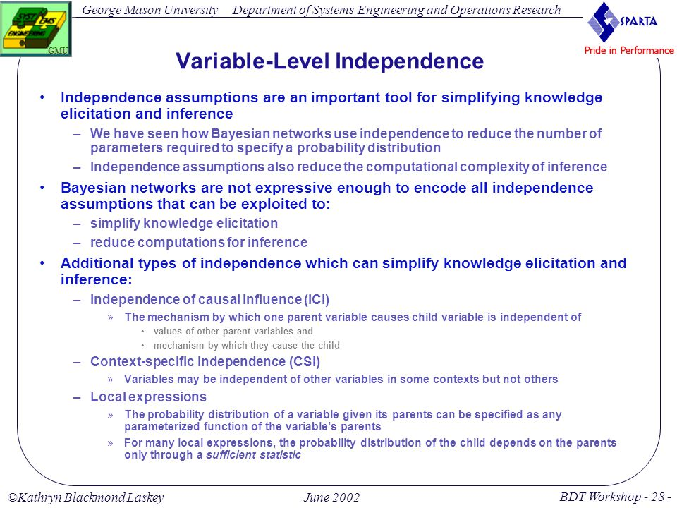 George Mason University BDT Workshop - 28 - GMU Department of Systems Engineering and Operations Research ©Kathryn Blackmond LaskeyJune 2002 Variable-Level Independence Independence assumptions are an important tool for simplifying knowledge elicitation and inference –We have seen how Bayesian networks use independence to reduce the number of parameters required to specify a probability distribution –Independence assumptions also reduce the computational complexity of inference Bayesian networks are not expressive enough to encode all independence assumptions that can be exploited to: –simplify knowledge elicitation –reduce computations for inference Additional types of independence which can simplify knowledge elicitation and inference: –Independence of causal influence (ICI) »The mechanism by which one parent variable causes child variable is independent of values of other parent variables and mechanism by which they cause the child –Context-specific independence (CSI) »Variables may be independent of other variables in some contexts but not others –Local expressions »The probability distribution of a variable given its parents can be specified as any parameterized function of the variable's parents »For many local expressions, the probability distribution of the child depends on the parents only through a sufficient statistic