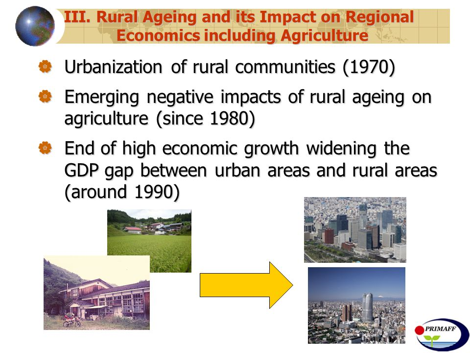 III. Rural Ageing and its Impact on Regional Economics including Agriculture  Urbanization of rural communities (1970)  Emerging negative impacts of