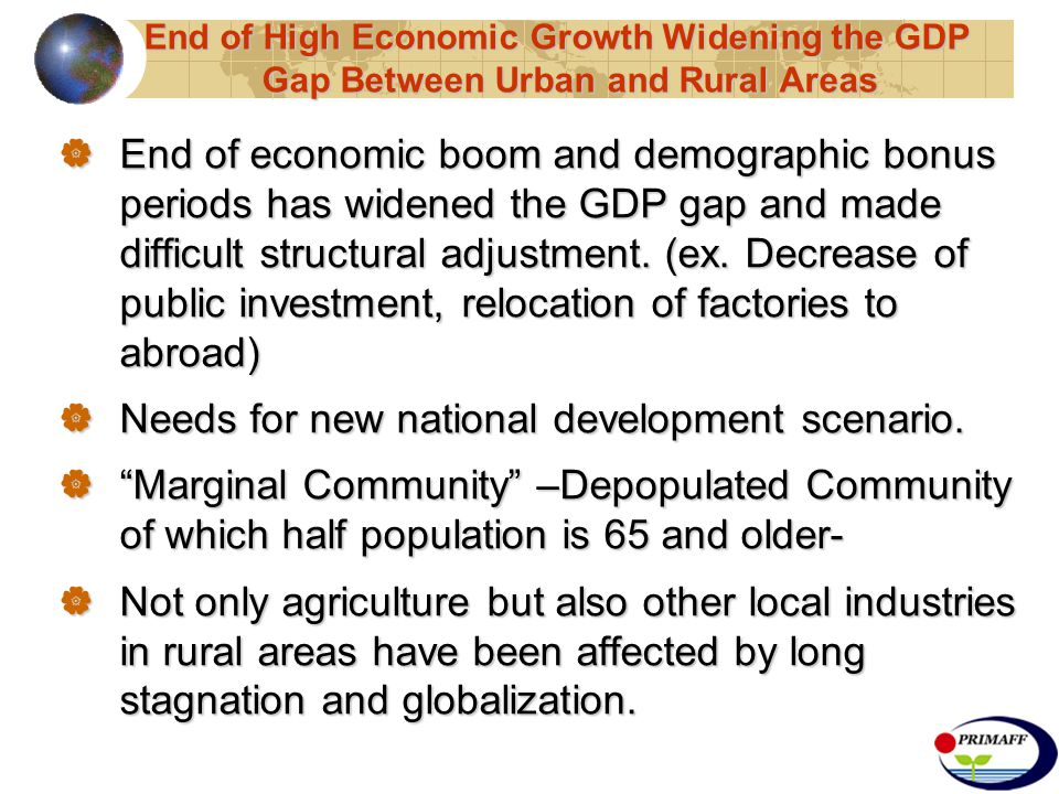  End of economic boom and demographic bonus periods has widened the GDP gap and made difficult structural adjustment.