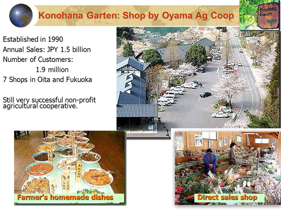 43 Established in 1990 Annual Sales: JPY 1.5 billion Number of Customers: 1.9 million 1.9 million 7 Shops in Oita and Fukuoka Still very successful non-profit agricultural cooperative.