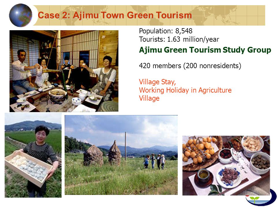 Ajimu Green Tourism Study Group 420 members (200 nonresidents) Population: 8,548 Tourists: 1.63 million/year Village Stay, Working Holiday in Agriculture Village Case 2: Ajimu Town Green Tourism
