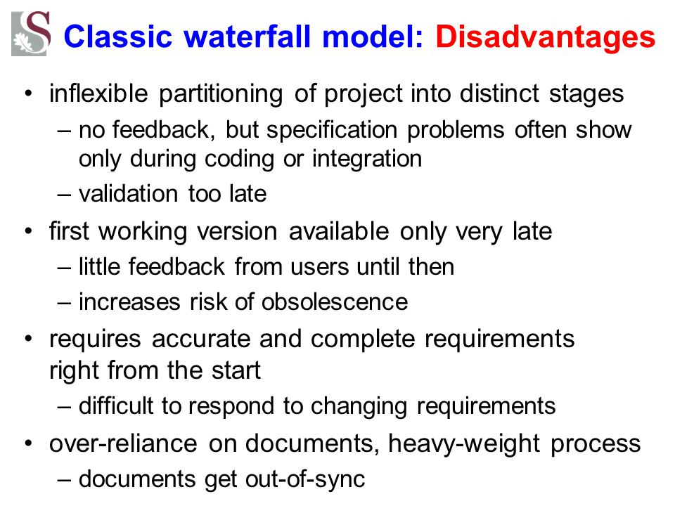 Classic waterfall model: Disadvantages inflexible partitioning of project into distinct stages –no feedback, but specification problems often show only during coding or integration –validation too late first working version available only very late –little feedback from users until then –increases risk of obsolescence requires accurate and complete requirements right from the start –difficult to respond to changing requirements over-reliance on documents, heavy-weight process –documents get out-of-sync