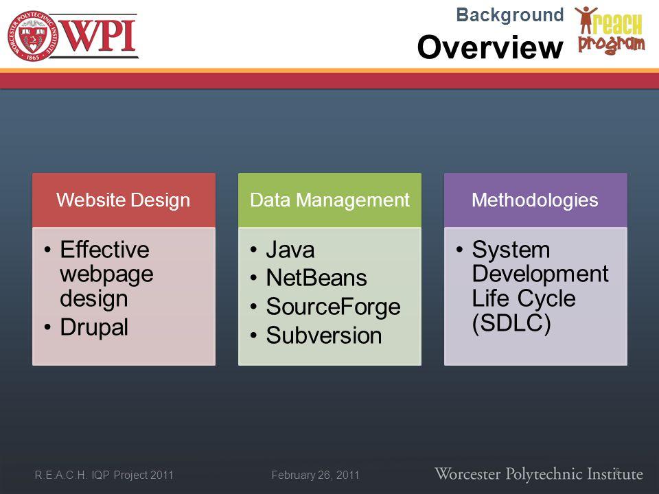 February 26, 2011 R.E.A.C.H. IQP Project 2011 Overview Website Design Effective webpage design Drupal Data Management Java NetBeans SourceForge Subver