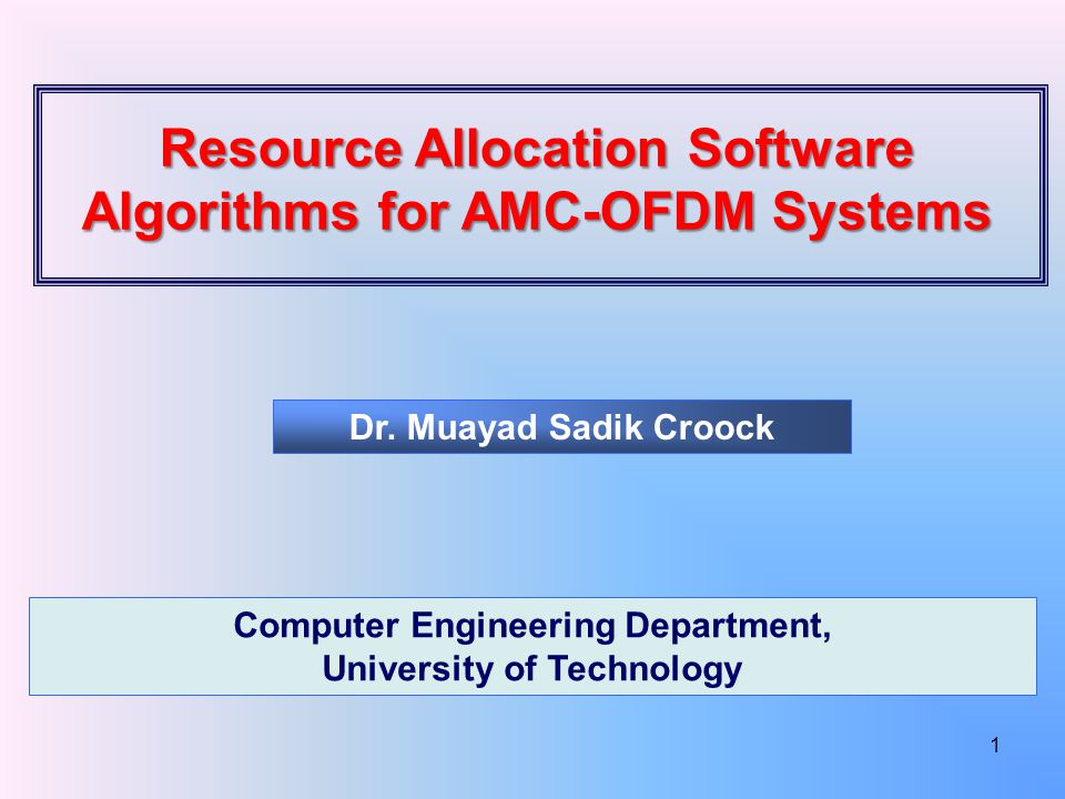 Resource Allocation Software Algorithms for AMC-OFDM Systems Dr.