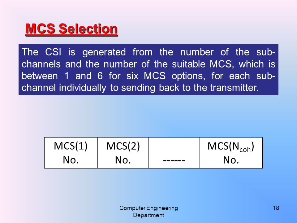 The CSI is generated from the number of the sub- channels and the number of the suitable MCS, which is between 1 and 6 for six MCS options, for each sub- channel individually to sending back to the transmitter.