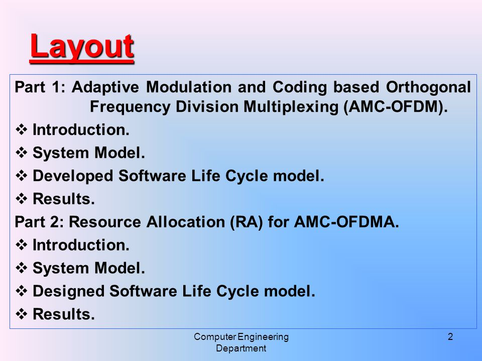 3 Layout Part 3: User Scheduling and RA for AMC-OFDMA.