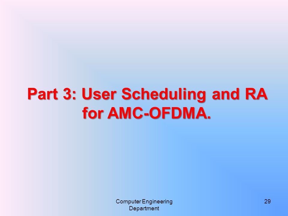 Computer Engineering Department 29 Part 3: User Scheduling and RA for AMC-OFDMA.